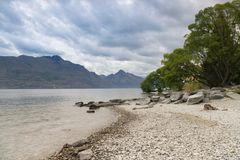 Queen town water lake, New Zealand south island royalty free stock images