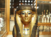 Queen Tuya golden statue in the egyptian museum in cairo in egypt Royalty Free Stock Photos