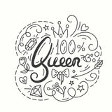 Queen Typography Design. Lettering print for t-shirt. Royalty Free Stock Photography
