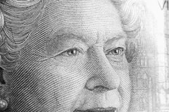 Queen upclose. Close up of twenty dollar bill, zoomed in on queen royalty free stock image