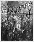 Queen Vashti refusing to obey. The command of Ahasuerus - Picture from The Holy Scriptures, Old and New Testaments books collection published in 1885, Stuttgart Royalty Free Stock Photo