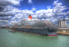 Queen Victoria cruise ship Southampton Docks England UK like painting in HDR Royalty Free Stock Photos
