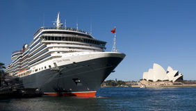 Queen Victoria Cruise Ship Sydney. Cruise ship Queen Victoria of the cunard ship fleet docked in Sydney Harbour ( harbor) on a beautiful Blue Day , February 24th Stock Photos