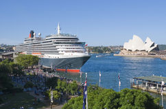 Queen Victoria Cruise Ship Sydney. The Queen Victoria ocean liner docked at Circular Quay Sydney with the sydney opera house in the background Royalty Free Stock Images