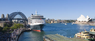 Queen Victoria Cruise Sydney Harbour. The cruise liner Queen Victoria, The Sydney Opera House and Sydney Harbor Bridge all together on a perfect bluse sky day Stock Images