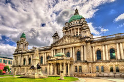Queen Victoria Memorial and Belfast City Hall Royalty Free Stock Image