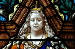 Queen Victoria in stained glass Stock Photo