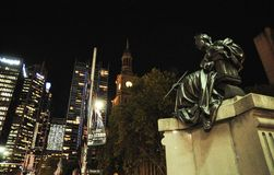 Queen Victoria statue at the entrance of the Queen Victoria building in Sydney CBD. at Night time. stock photos