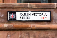 Queen Victoria street sign - London Royalty Free Stock Photos