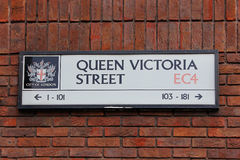 Queen victoria street, street plate in City of London, UK Stock Photo