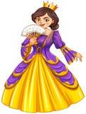 Queen wearing golden crown Stock Photos