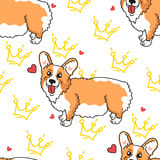 Queen welsh corgi. Seamless pattern with cute puppy and crown on a white background stock illustration