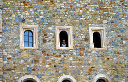 Queen at windows Castle Royalty Free Stock Photography