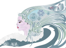 Queen of winter. With snowlakes and icicle Stock Photos