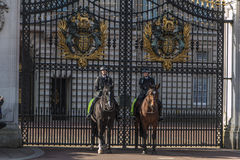 Queen' s卫兵-白金汉宫-伦敦-英国 免版税库存照片