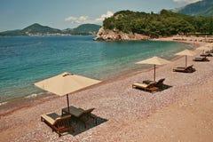 The Queen& x27;s beach of Sveti Stefan Stock Photo