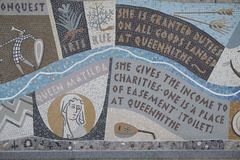 Queenhithe Mosaic along the North Bank of the Thames. Details ofthe Queenhithe Mosaic on the North Bank in London UK Stock Photo