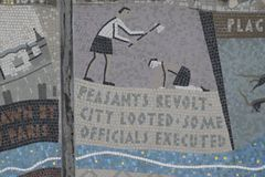 Queenhithe Mosaic along the North Bank of the Thames. Details ofthe Queenhithe Mosaic on the North Bank in London UK Stock Photos