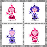 Queens. Humorous playing card Queens collection Royalty Free Stock Photo