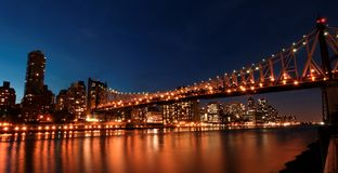 Queens bridge, New York. A nighttime view of the Manhattan and Queens Borough Bridge in New York stock photography