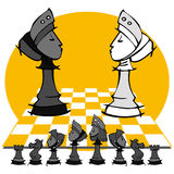 2 queens: Chess game, cartoon. Chess game on cartoon style Stock Image