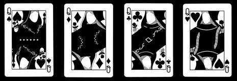 4 Queens dans une rangée - jouer des cartes Photo libre de droits