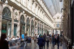 Queens gallery in Brussels. Brussels, Belgium - July 31, 2015: Queens gallery in Brussels, people shopping or enjoying a drink Royalty Free Stock Photo