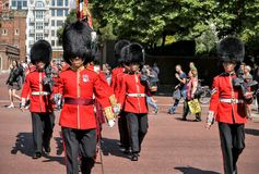 Queens Guards marching Changing Guard London Stock Photography