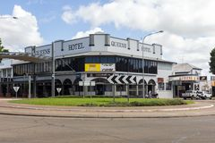 The Queens Hotel. Ayr, Australia - 26th May 2015: The Queens Hotel, Queen street. The hotel is also a pub and rstaurant royalty free stock images