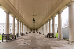 Queens House, National Maritime Museum, Greenwich, London. Colonnaded walkway at Queens House, National Maritime Museum, Greenwich, London Royalty Free Stock Photo