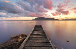 Queens Lake Reserve Jetty at sunset Royalty Free Stock Image