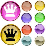 Queens Mark. The cristal red and blue queens mark button Stock Photos