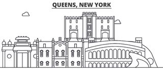Queens, New York architecture line skyline illustration. Linear vector cityscape with famous landmarks, city sights Stock Photo