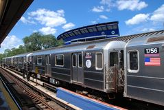 Queens, NY: #7 Flushing Line Subway Train Royalty Free Stock Photos