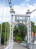 Queens Park bridge. Detail of a suspension bridge in Chester Cheshire UK Royalty Free Stock Image