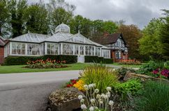 Queens Park, Chesterfield. A large greenhouse in Queens Park, Chesterfield, Derbyshire Royalty Free Stock Photo