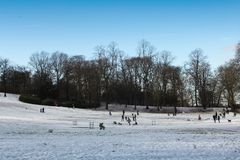 Queens Park, Glasgow on a snowy day. stock photography