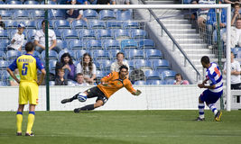 Queens Park Rangers v Chievo Verona. LONDON, UK AUGUST 2, Dexter Blackstock scores from the penalty spot at the pre-season friendly football match between QPR royalty free stock photography