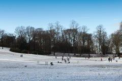 Queens parkerar, Glasgow på en snöig dag arkivbild