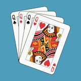 Queens poker on blue. Playing cards: queens poker on blue background Royalty Free Stock Image