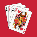 Queens poker on red. Background Stock Photos