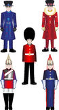 Queens Royal Guard vector illustrations. Beefeater in both everyday uniform and Tudor state dress, a Grenadier Guard and The Blues and Royals of the Household Royalty Free Stock Image