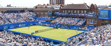 Queens tennis tournament, London 2017. Centre Court at Queens Tennis Tournament, London 2017. Jo Wilfred-Tsonga vs Giles Muller Royalty Free Stock Image