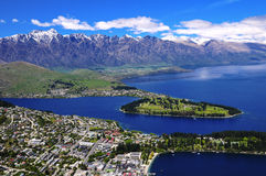 Queens Town and Lake Wakatipu. Royalty Free Stock Photography