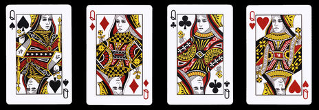 4 Queens in una fila - carte da gioco fotografia stock libera da diritti