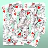 Queens van harten Stock Afbeeldingen
