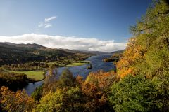 The Queens View Pitlochry Perthshire Scotland. The Queens View over Loch Tummel at Pitlochry Perthshire Scotland royalty free stock images