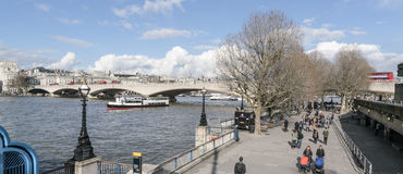 Queens Walk on South Bank of River Thames London UK Stock Photography