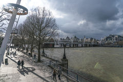 Queens Walk on South Bank of River Thames London UK Royalty Free Stock Images