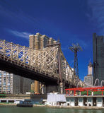 Queensboro Bridge. Fragment of the Queensboro Bridge against a dark blue sky Stock Images